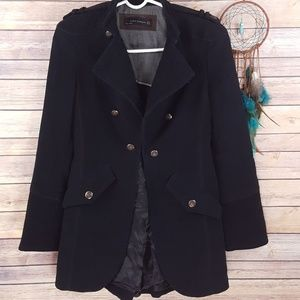 Zara Military Jacket Coat Corduroy Black Long Sz S